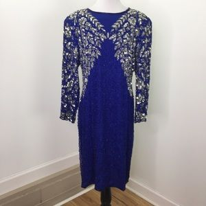 Vintage Blue Silver Sequins Beaded Gatsby Dress